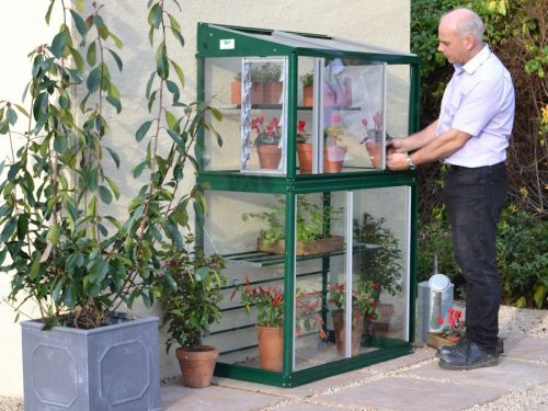 Mini greenhouse fitted to a wall