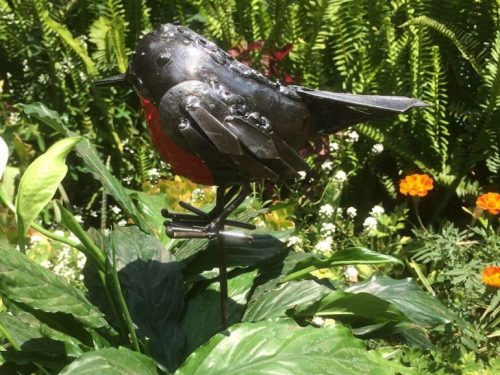 Metal RSPB Red Robin Pot Stake