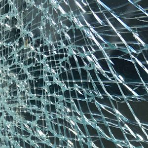 toughened safety glass shattered into small pieces