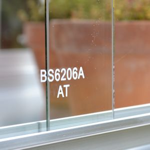 Image of toughened safety glass with BS6206A